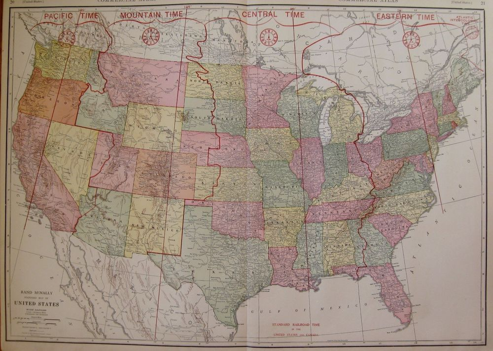 1927 rare size united states map of the united states railroad time 1927 rare size united states map of the united states railroad time zones 3308 sciox Image collections