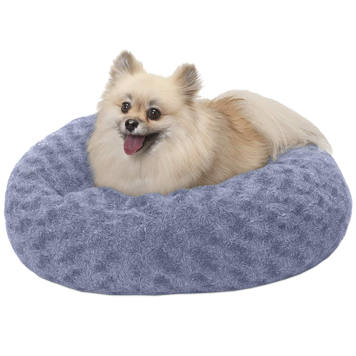 Furhaven Pet Dog Bed Deep Dish Curly Faux Fur Refillable
