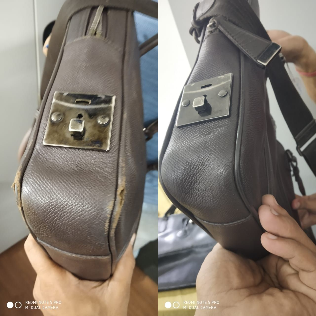 Torn Piping Of A Leather Handbag