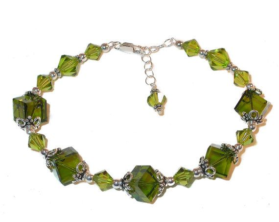 OLIVINE GREEN Crystal Bracelet Sterling Silver Designed by Tina Kincaid CharminglyYours