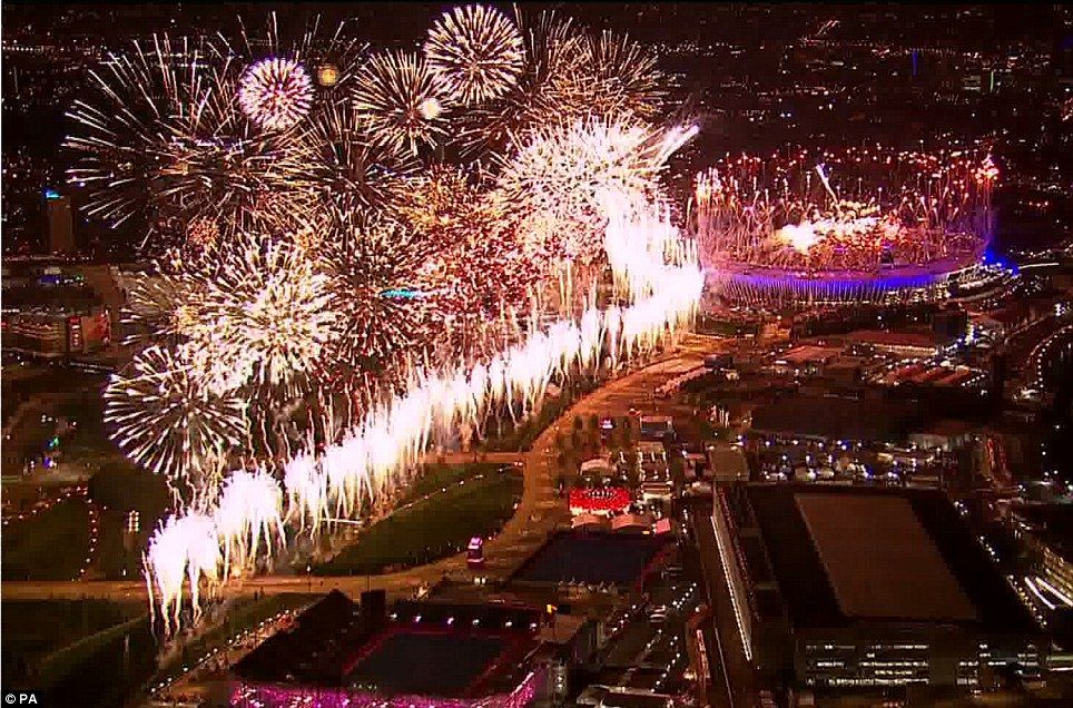 2012 Olympics Opening Ceremony: London is illuminated by a stunning firework display as the Opening Ceremony reaches a crescendo