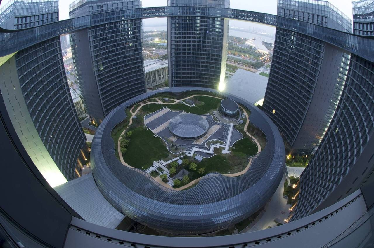 Modern Architectural Forms view from the top of congress center hangzhou. #modern