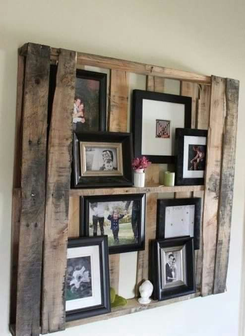 Fun way to frame and hang pics. But don't like the 2 boards on each side, maybe only one or none.