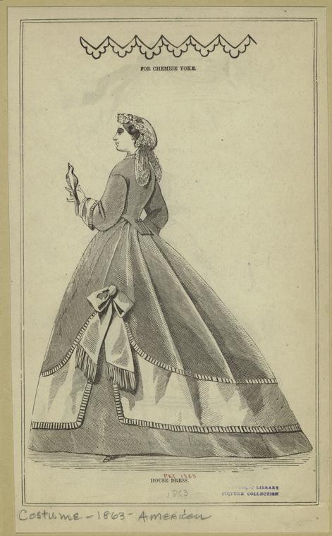 For chemise yoke ; House dress. 1863 Peterson's