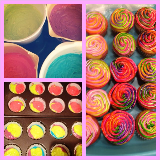Tie Dye cupcakes! First attempt. McCormick neon food dye for the ...