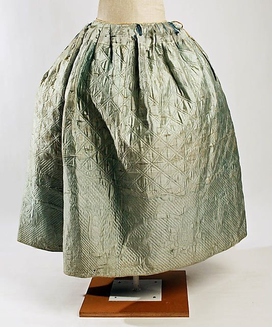 Petticoat  Date: 18th century Culture: American Medium: silk, linen Dimensions: Length: 35 1/2 in. (90.2 cm) Credit Line: Bequest of Maria P. James, 1910 Accession Number: 11.60.219