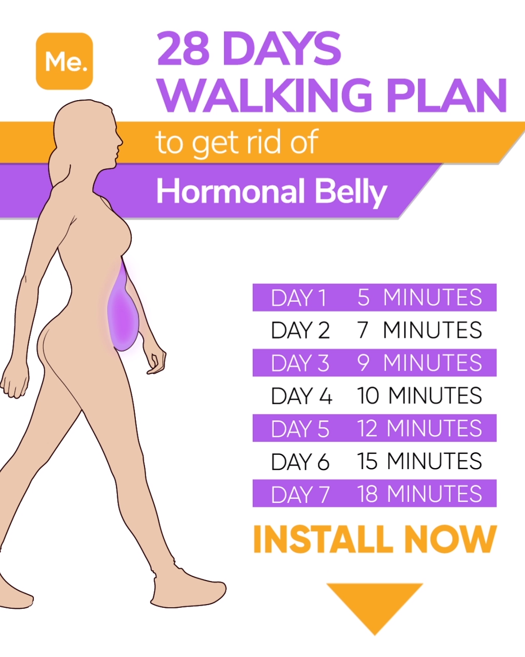 11-Day Walking Plan to Get Rid of Hormonal Belly [Video]  Hormonal belly,  Walking plan, Get rid of hormonal belly