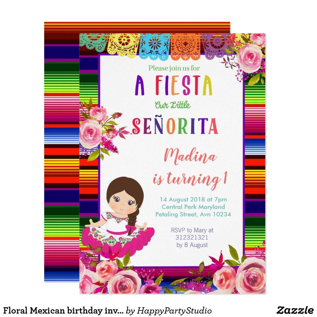 Floral Mexican birthday invitations   { Happy Birthday - Invitations ...