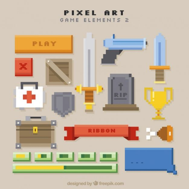 Set of video game weapons and items Free Vector my online resume