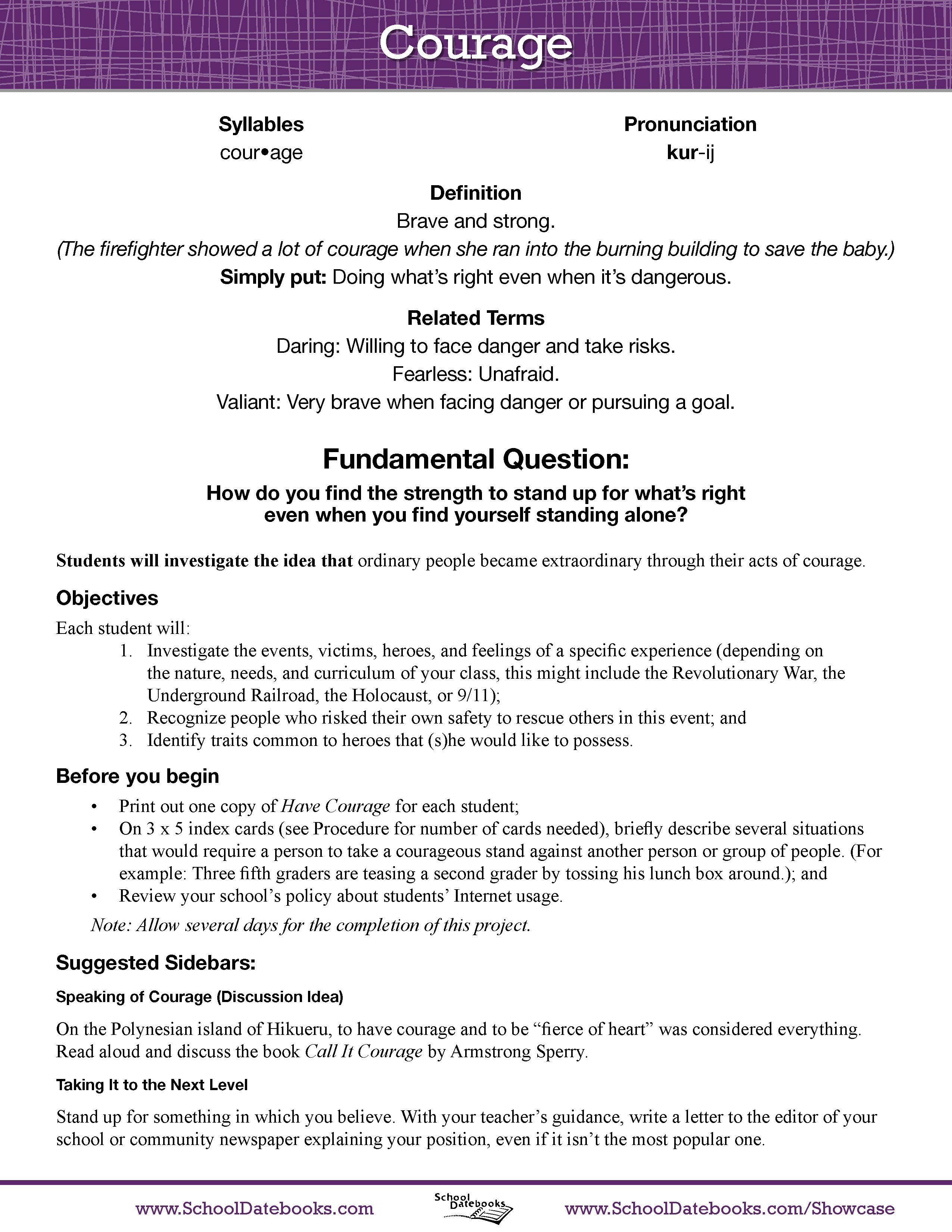 Caring Trait Worksheet