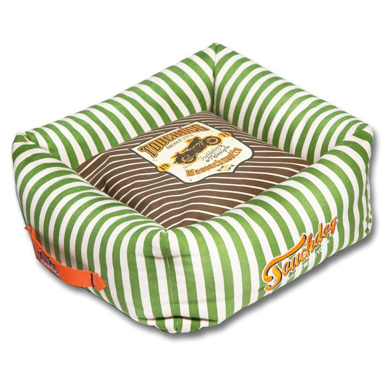 Pet Life Touchdog Neutral-Striped Ultra-Plush Rectangular Rounded Designer Dog Bed Brown/Spearmint Green - PB57BRGBLG