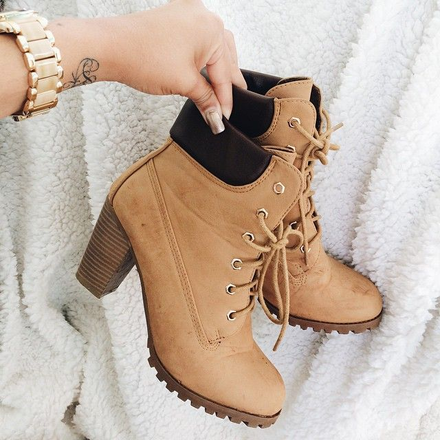tan timberland heels tumblr