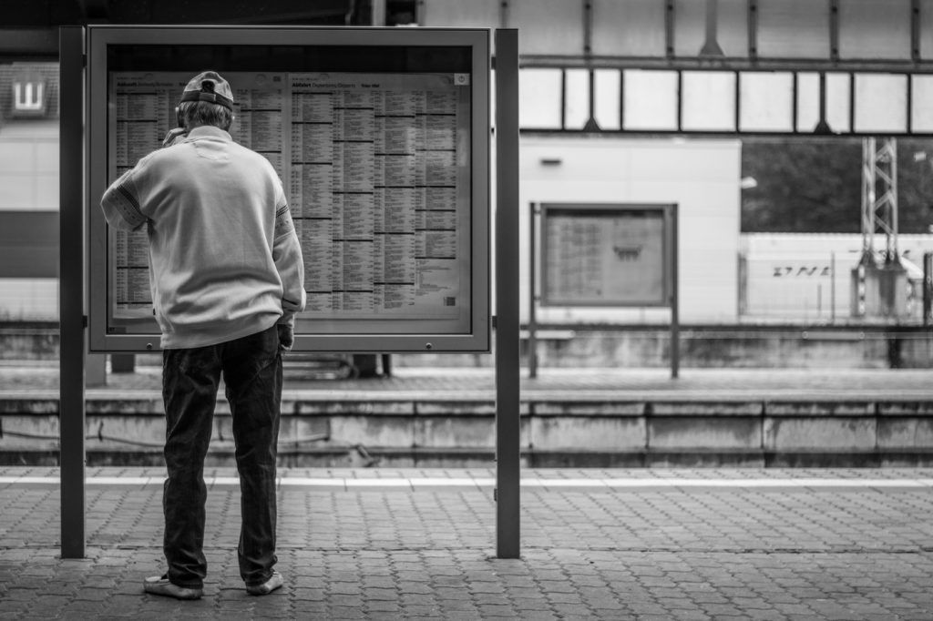 Street Photography in Trier, Germany. Train station and a rainy city.