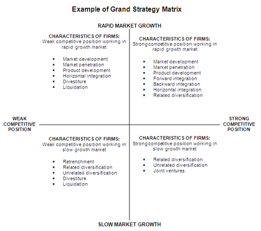 Example Of Grand Strategy Matrix  Business  Marketing Analysis