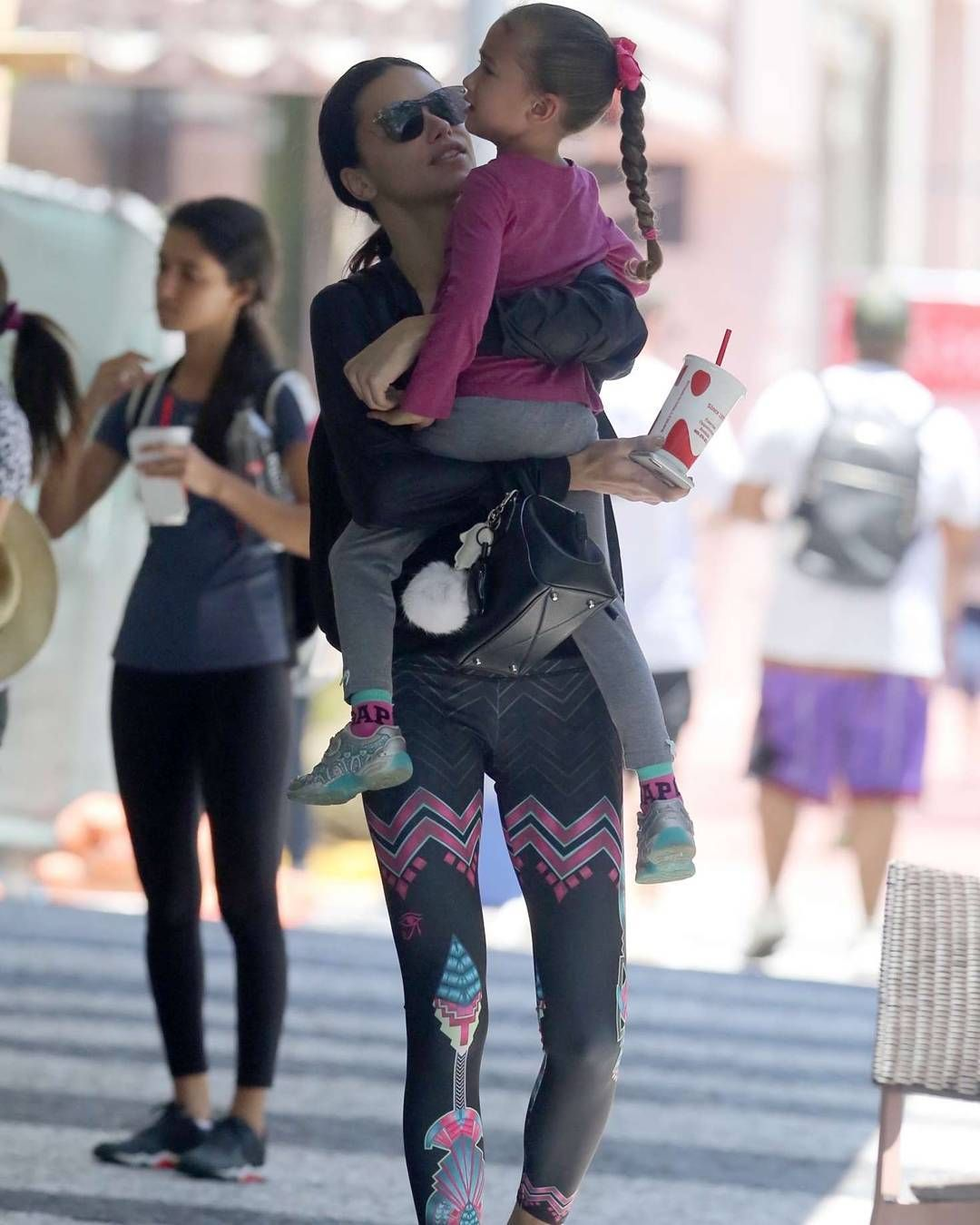 adriana lima with her daughter sienna out shopping in