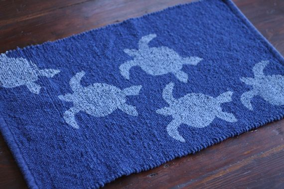 The Turtle Design Was Hand Carved By Me And Applied In White On A Navy Blue 100 Cotton Woven Bath Mat Rug The Navy Blue Mat Is Cotton Rug Rugs Bath