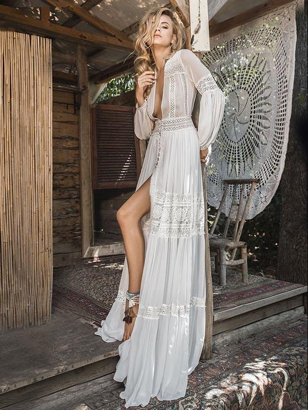 Deep V-neck See-through Puff-sleeves Maxi Dress 2