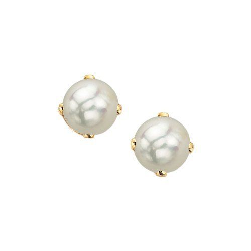 4d5997c20 14K Yellow Gold Prong Set 5 MM Freshwater Cultured Pearl Earring Studs  Katarina. $64.89