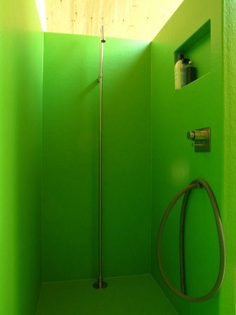 badkamer | polyester | groen | alles loopt in elkaar over, Badkamer