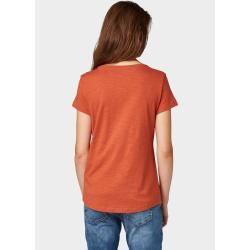 Photo of Tom Tailor Denim Damen Nena & Larissa: T-Shirt mit Print-Motiv, rot, unifarben mit Print, Gr.S Tom T