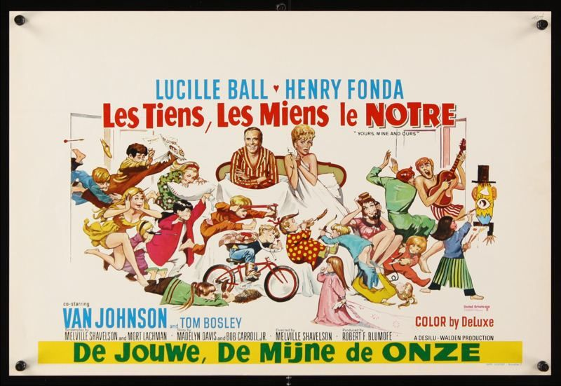 Yours Mine And Ours Belgian poster. Lucille Ball. Henry Fonda. Art by Frank Frazetta