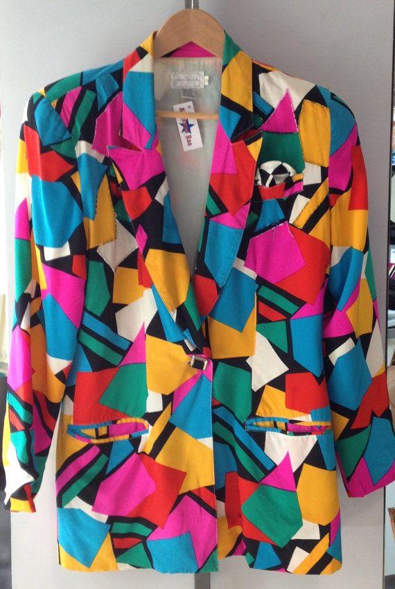 80s Geometric Shapes Printed Blazer via Etsy