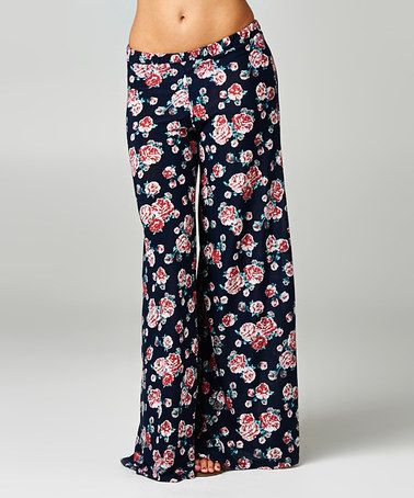 Love this Navy & Pink Floral Palazzo Pants by A La Tzarina on #zulily! #zulilyfinds