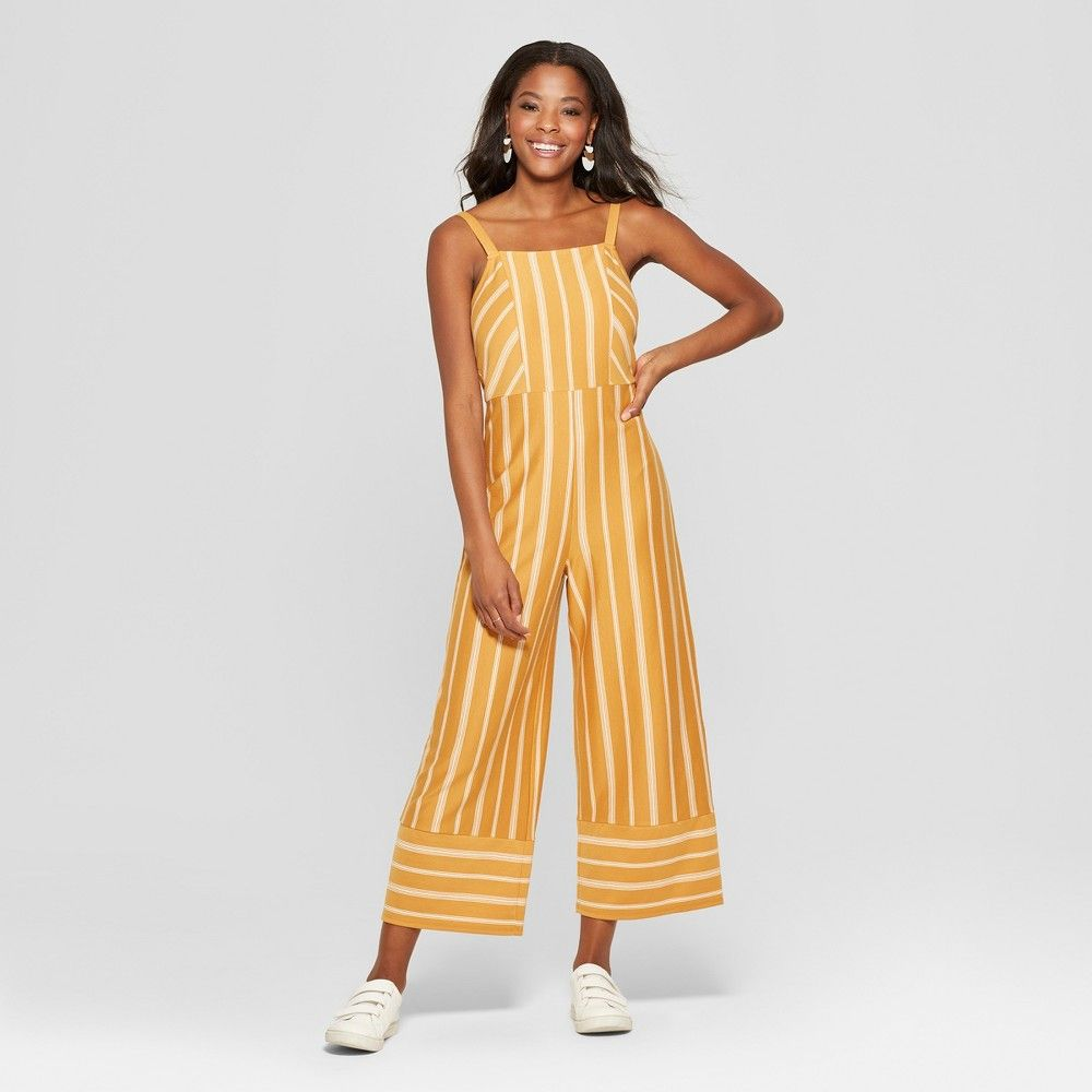 a4cd0994f66f Women s Striped Strappy Square Front Knit Jumpsuit - Xhilaration  Mustard White S Gender  Female. Age Group  Adult. Pattern  Stripe.  Material  Polyester.