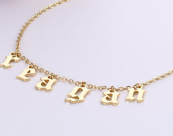 Dangle Letter Name Necklace Old English Choker Custom