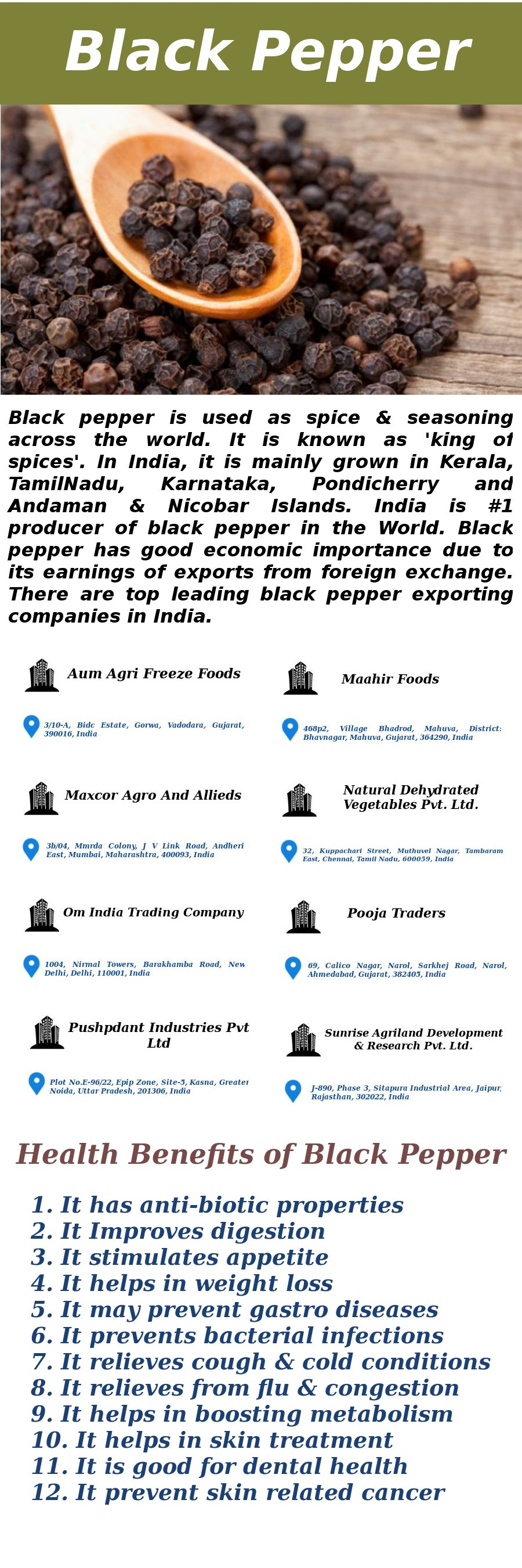 Visit Here India's Top Leading Black Pepper Exporting Companies with