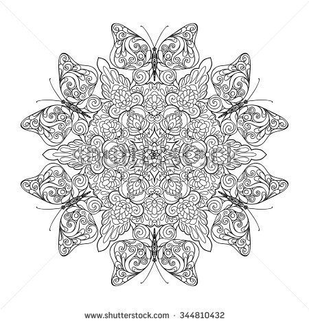 Coloring Book For Adult And Older Children Page With Mandala Made Of Decorative Vintage Flowers Butterflies Vector Illustration