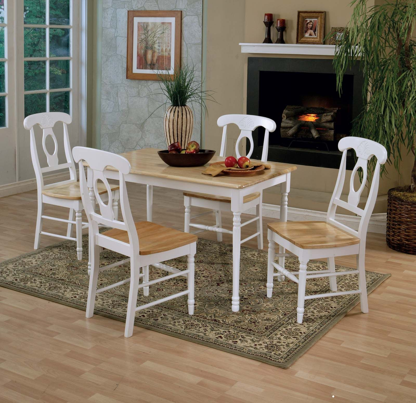Coaster 5pc Dining Set in White and Natural Finish 4147