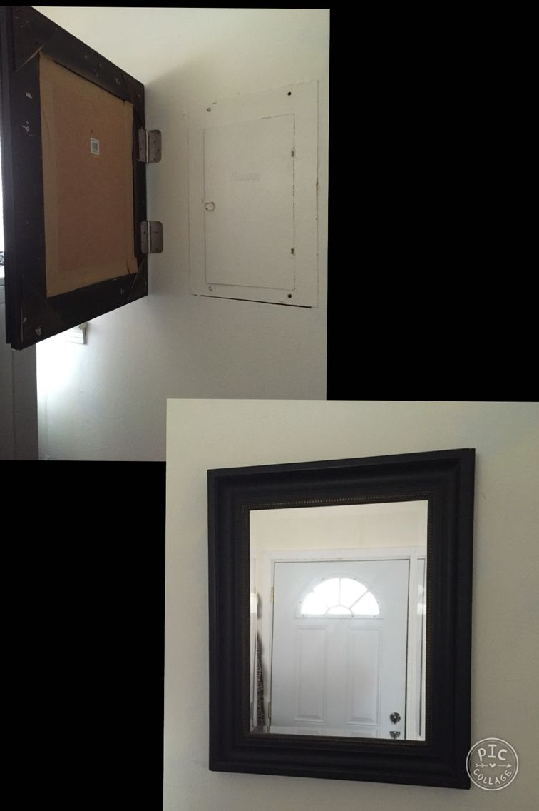 Fuse box cover up. Hidden behind mirror