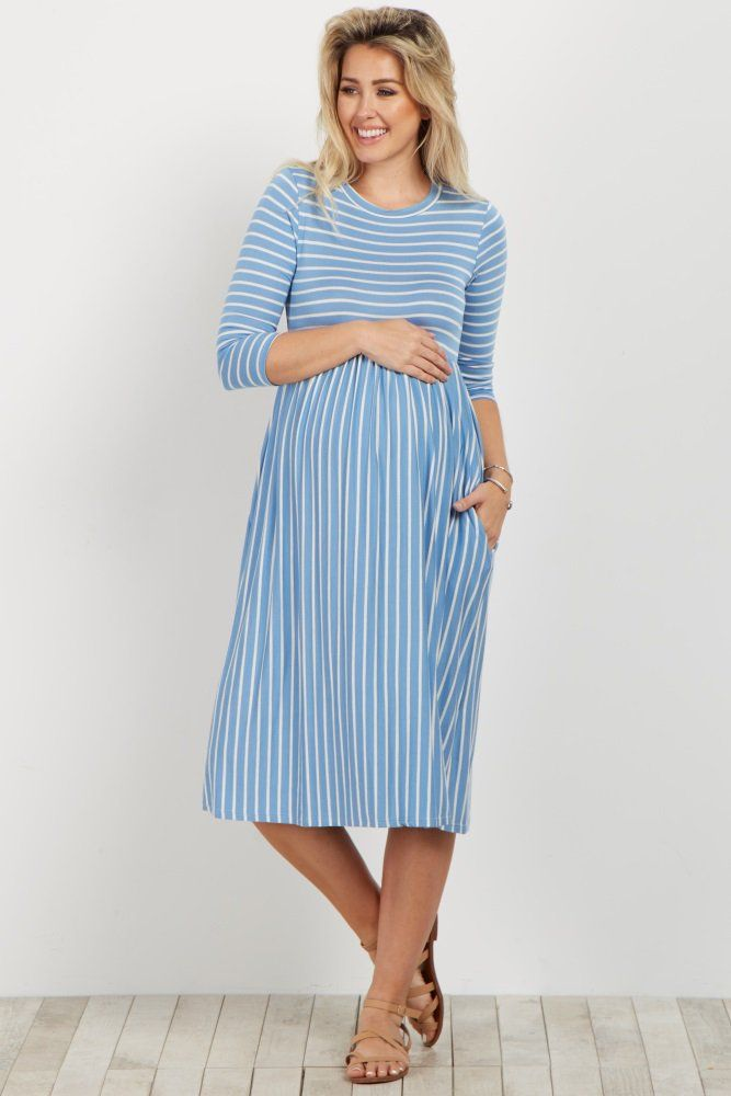 76213334bbbaf A horizontal striped top, vertical striped bottom maternity dress. 3/4  sleeves. Rounded neckline. This style was created to be worn before,  during, ...