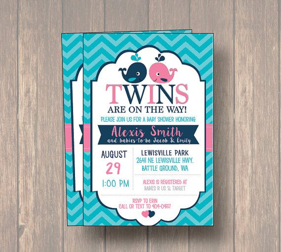 Whale Twins Baby Shower Invitation twin girl twin boy boy and