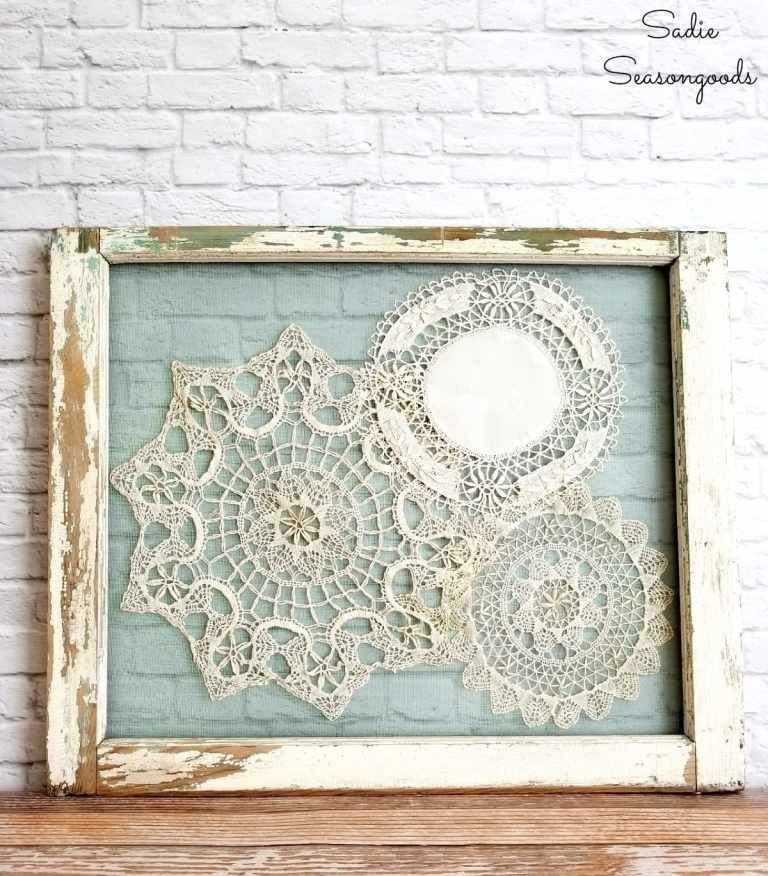 Shabby Chic Wall Decor With Lace Doilies And An Old Window Frame Shabby Chic Wall Art Chic Wall Art Window Frame Decor