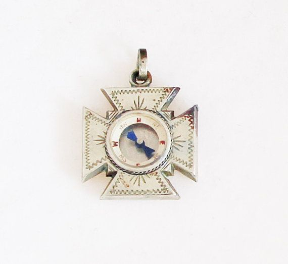 Victorian Compass Pendant in Cross Shape by TheCompassCollector