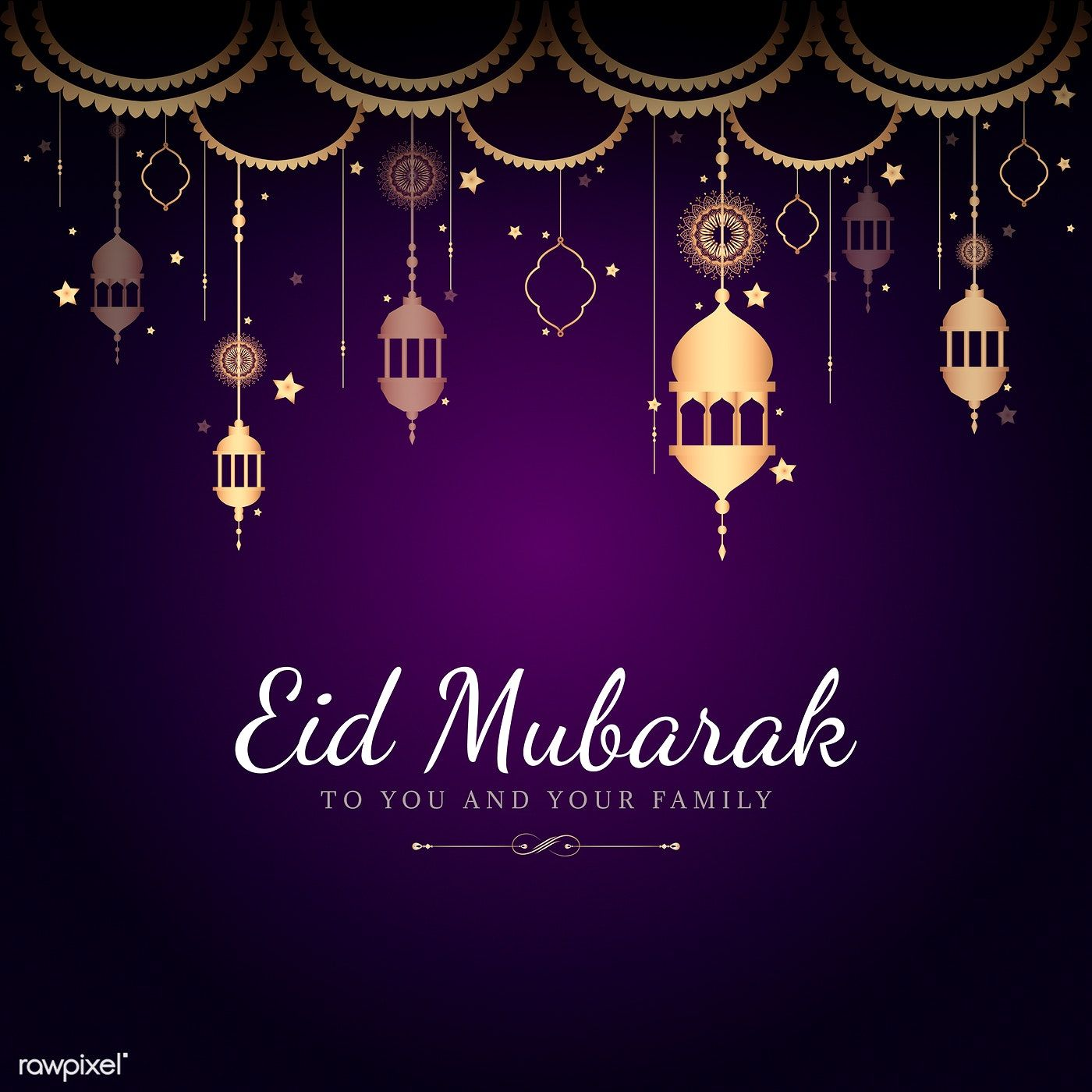 Eid Mubarak card with lanterns pattern background  free image by