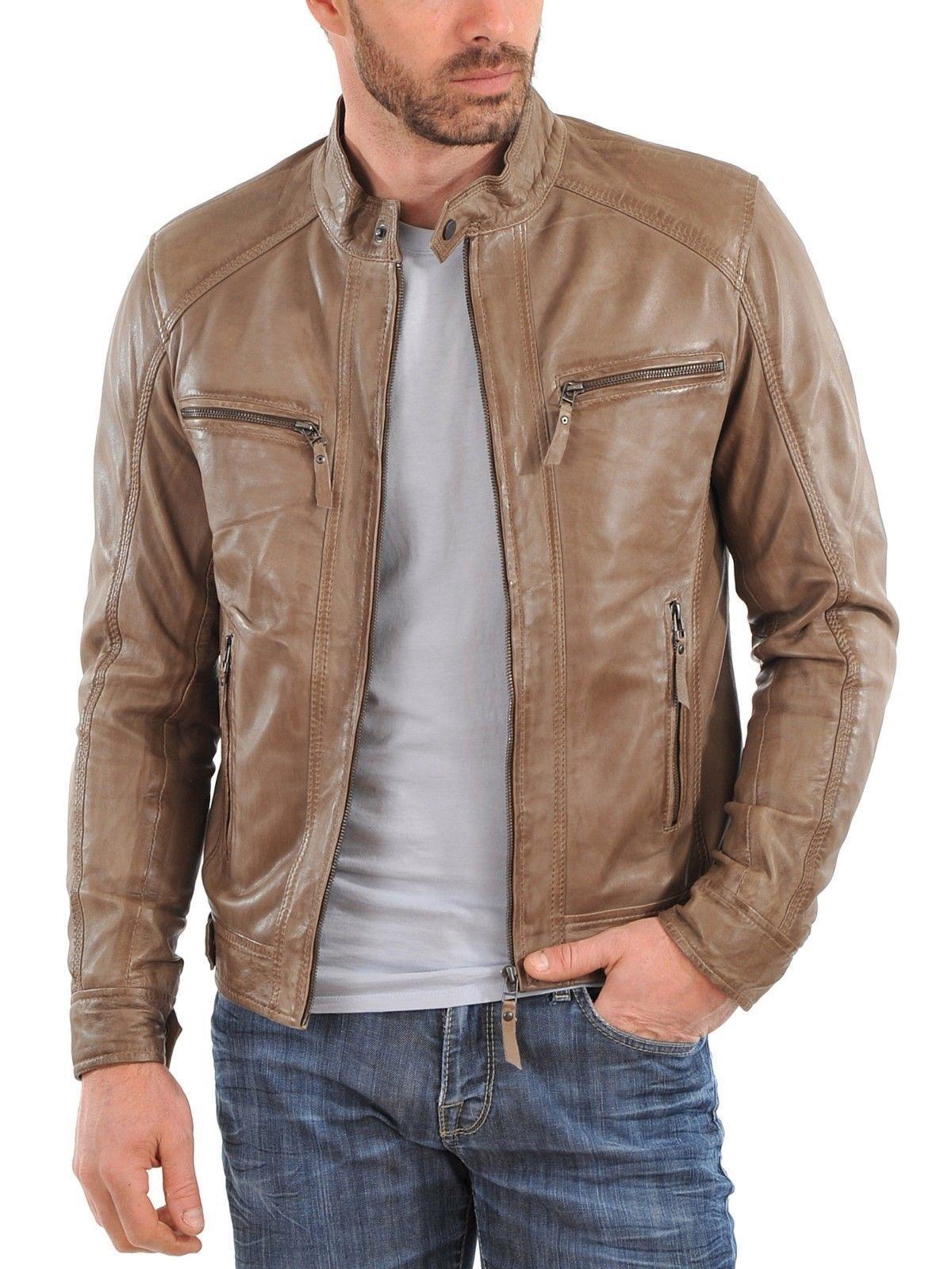 Men's stylish motorcycle leather jacket designer