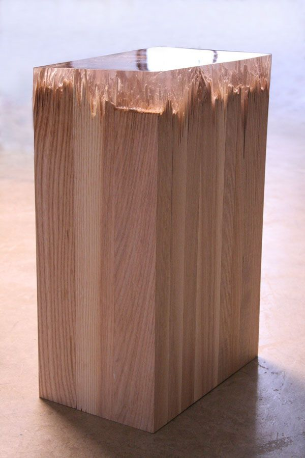 """Smashed wood, repaired with resin, from the """"Broken Board"""" series by ..."""