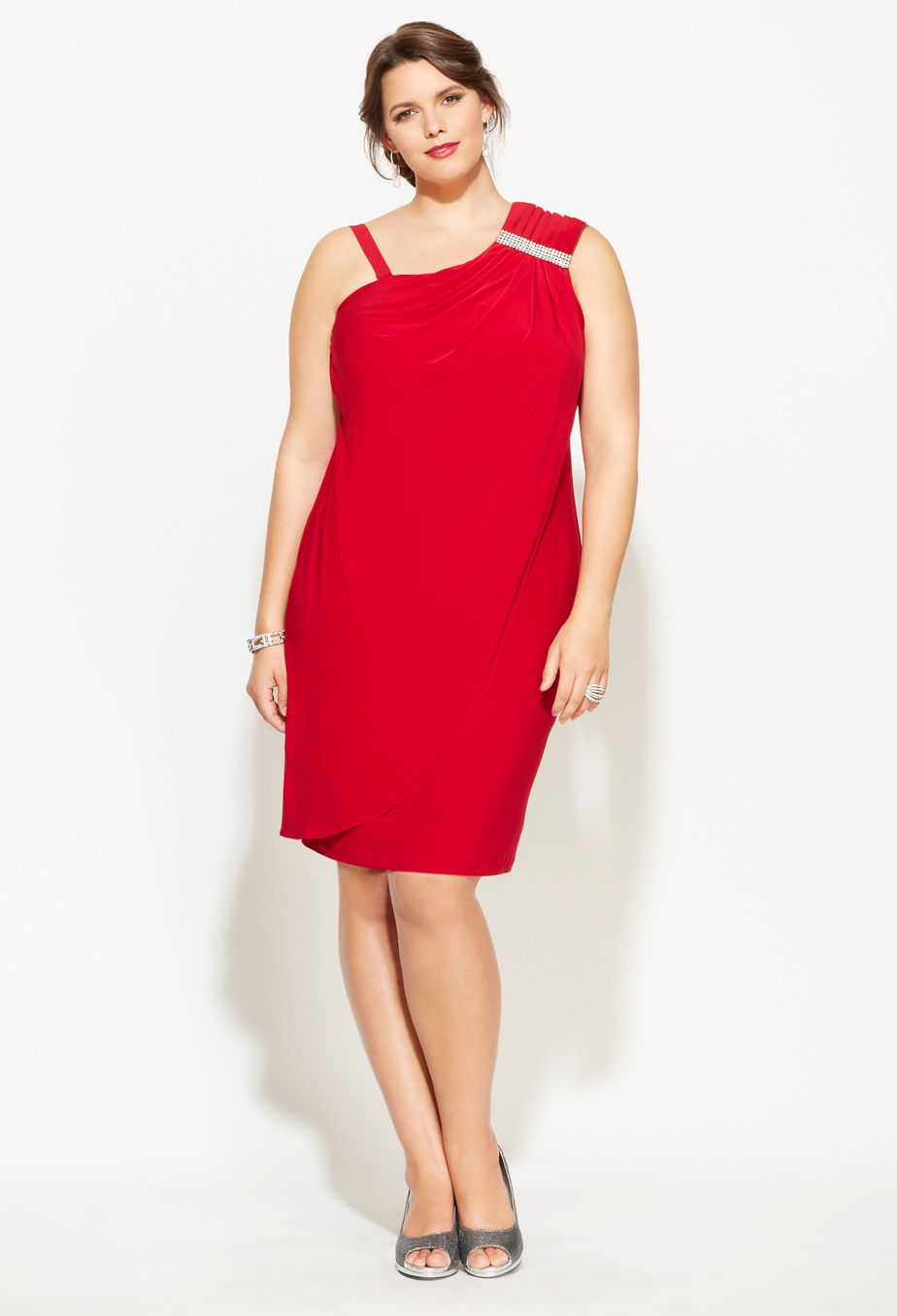 Clothing � $24.99 Plus Size Draping Faux One Shoulder Dress ...