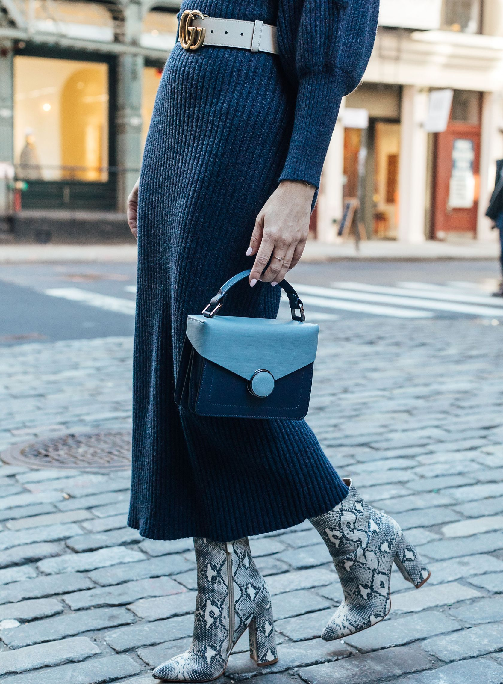 9d0d6e5761cc Sydne Style shows the best fashion week street style accessories in  snakeskin boots trend  snakeskin
