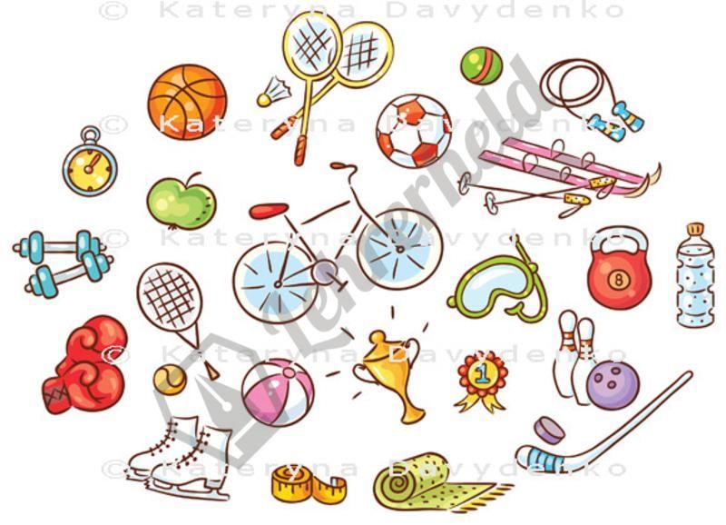 Sportgegenstände, Bilder für Unterrichtsmaterial | Eps datei ...