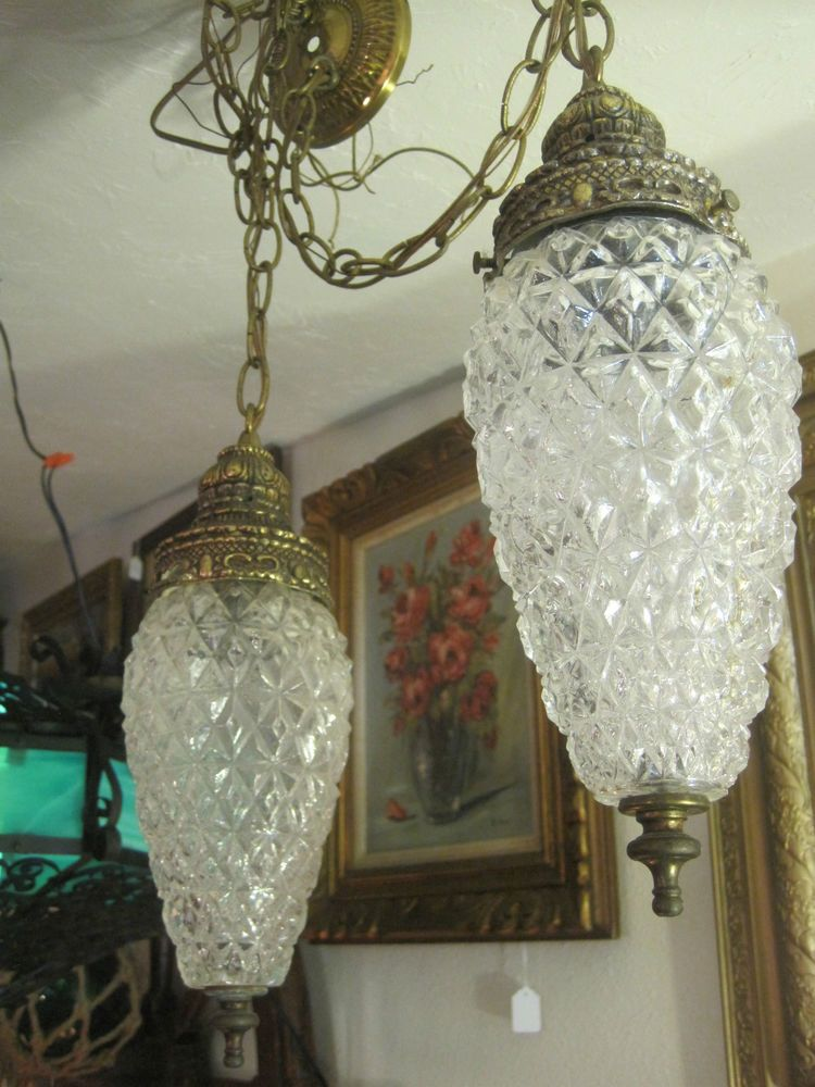 Mid Century Vintage Swag Lamps, Hanging Lights Antiques