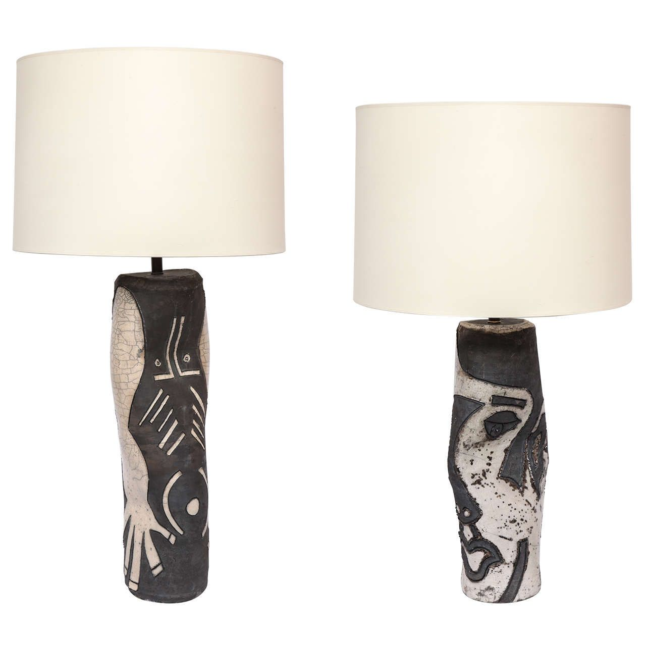 Pair of sculptural ceramic table lamps signed ceramic table pair of sculptural ceramic table lamps signed from a unique collection of antique and geotapseo Choice Image