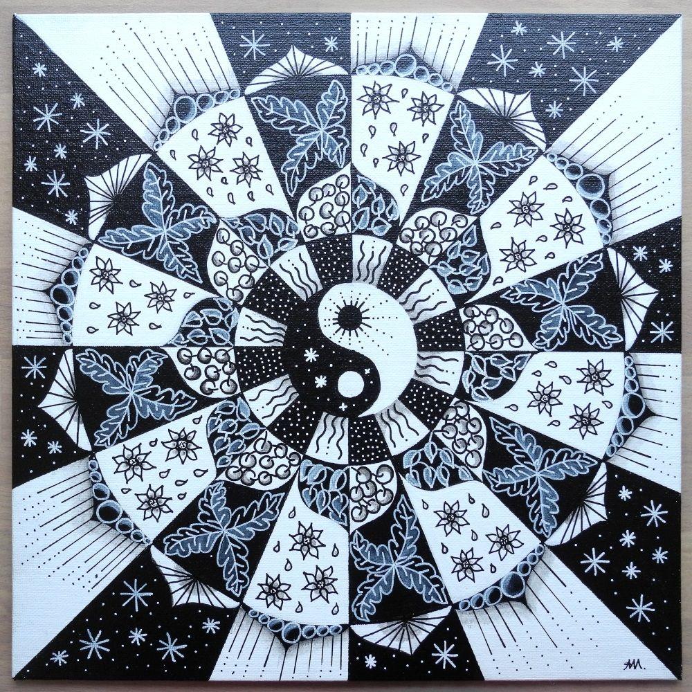 Yin-Yang Mandala Acryl   Meine Zeichnungen, Bilder, Zentangle ...