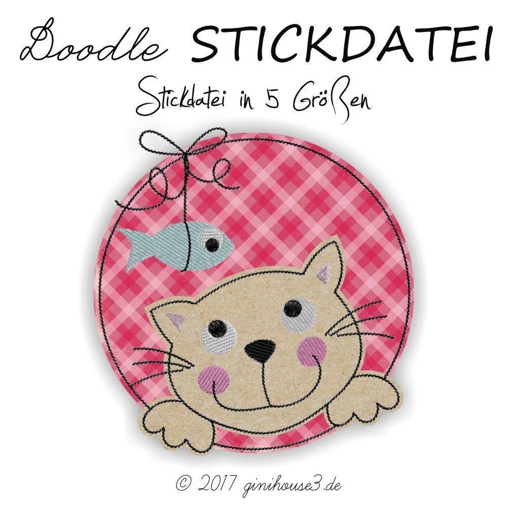 Stickdatei KATZE Doodle-BUTTON ab 10x10 | Sticken | Pinterest ...