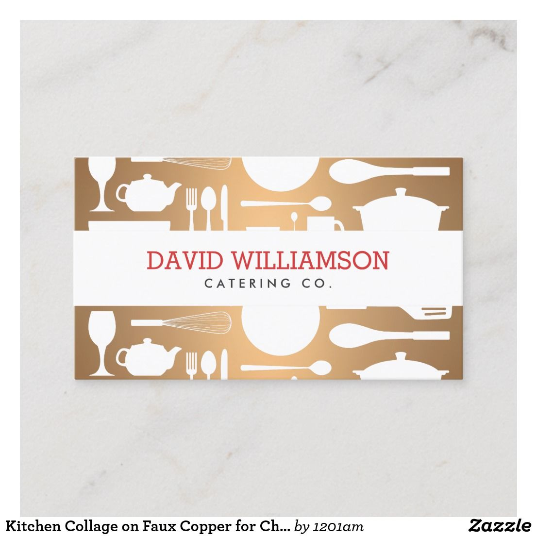 Kitchen Collage On Faux Copper For Chef Catering Business Card Zazzle Com Catering Business Cards Bakery Business Cards Templates Bakery Business Cards