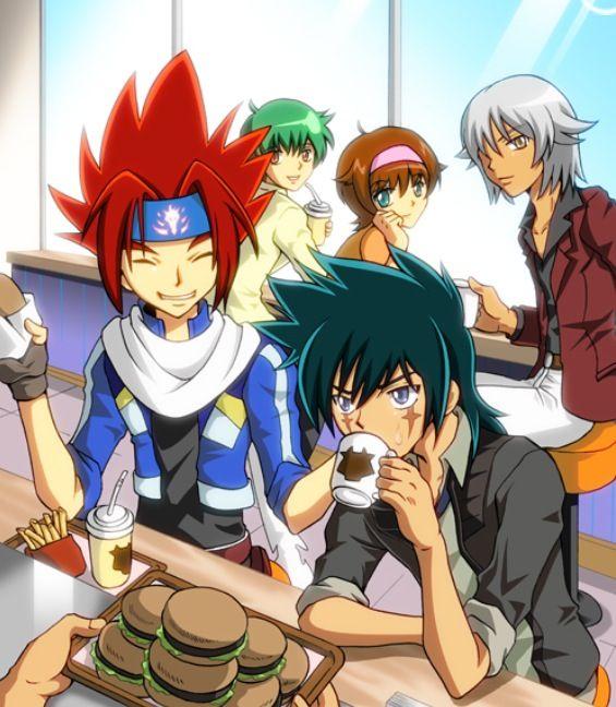 The older Beyblade gang!!! Madoka, Tsubasa, and Gingka from Beyblade Shogun Steel. Kenta and Kyoya: Unknown.