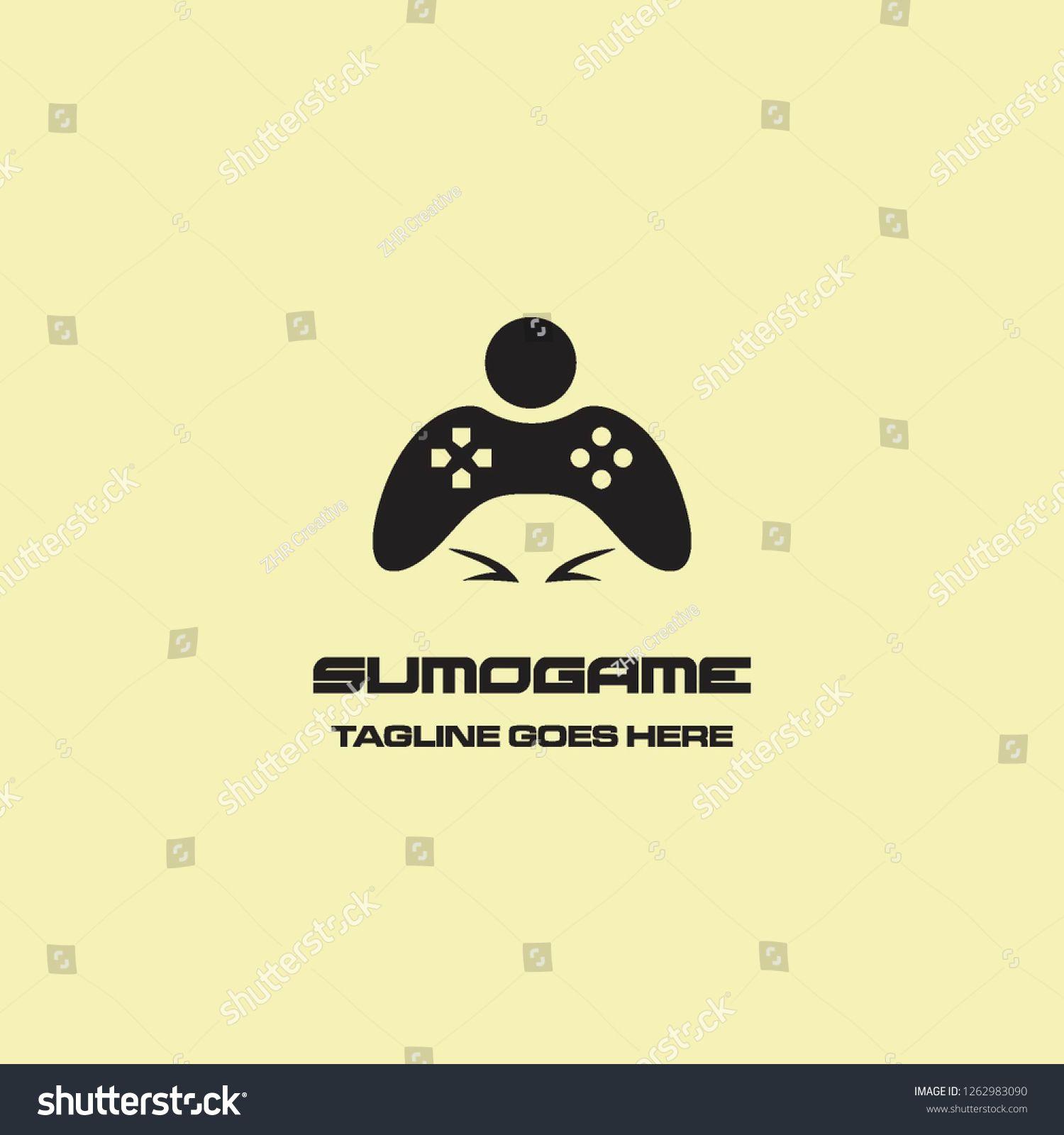 Geometric Flat Sumo Wrestler Head With Game Stick Play Logo Icon